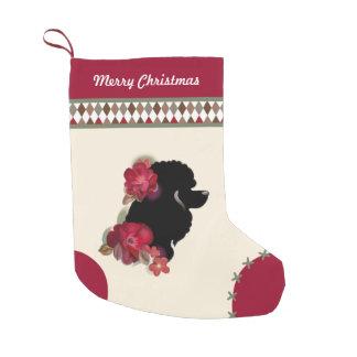 Calcetín Navideño Pequeño Navidad del caniche que almacena el ornamento de