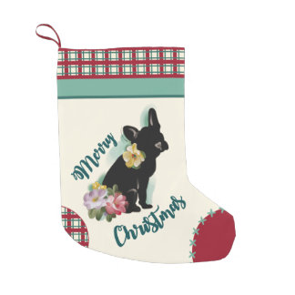 Calcetín Navideño Pequeño Navidad del dogo francés que almacena la turquesa