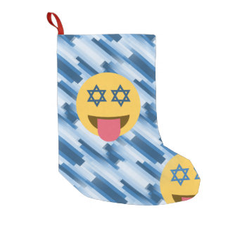 Calcetín Navideño Pequeño navidad del emoji del chanukkah de Jánuca que