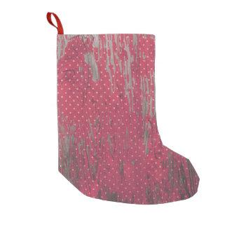 Calcetín Navideño Pequeño navidad rústico de madera del polkadot rojo que