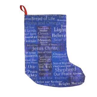 Calcetín Navideño Pequeño Nombres y títulos del ARTE CRUZADO AZUL de Jesús