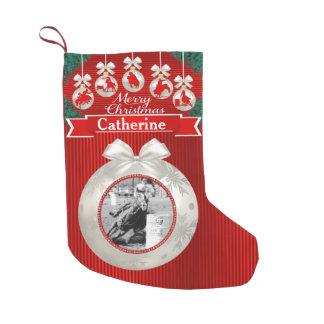 Calcetín Navideño Pequeño Ornamentos del rodeo en la media de encargo roja
