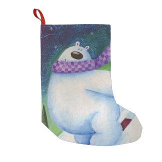 Calcetín Navideño Pequeño Oso polar de esquí