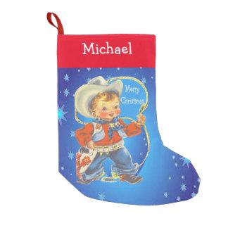 Calcetín Navideño Pequeño Pequeño vaquero con Felices Navidad de la cuerda