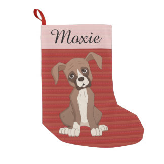 Calcetín Navideño Pequeño Perrito del boxeador en un modelo rojo del navidad