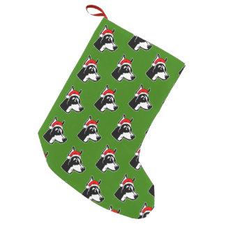Calcetín Navideño Pequeño Perro del Doberman con el gorra de Santa del