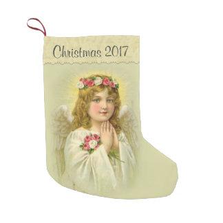 Calcetín Navideño Pequeño Personalice el ángel hermoso con los rosas