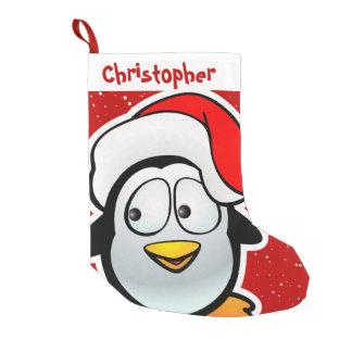 Calcetín Navideño Pequeño Pingüino divertido con el gorra rojo de Santa