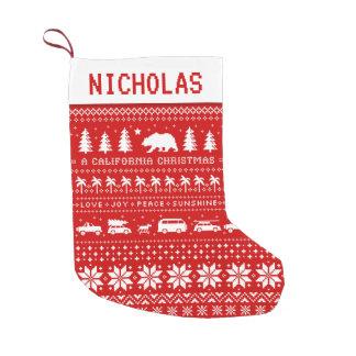 Calcetín Navideño Pequeño Rojo y blanco del modelo del navidad de California