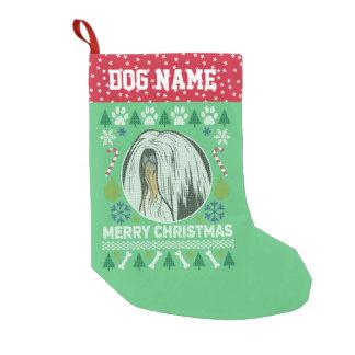 Calcetín Navideño Pequeño Suéter feo del navidad de la raza del perro de