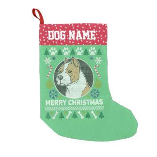 Calcetín Navideño Pequeño Suéter feo del navidad de la raza del pitbull de