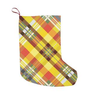 Calcetín Navideño Pequeño Tela escocesa/tartán - girasol