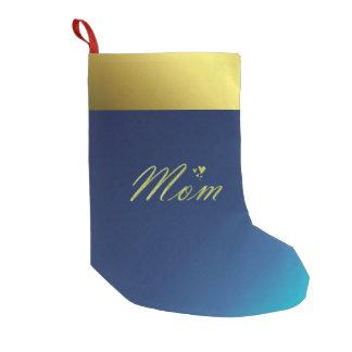 Calcetín Navideño Pequeño texto de oro de la mamá en el almacenamiento azul