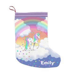 Calcetín Navideño Pequeño Unicornio colorido y estrellas del arco iris