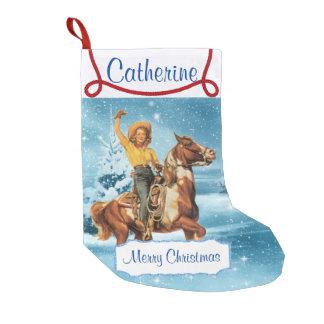 Calcetín Navideño Pequeño Vaquera en escena del invierno del caballo