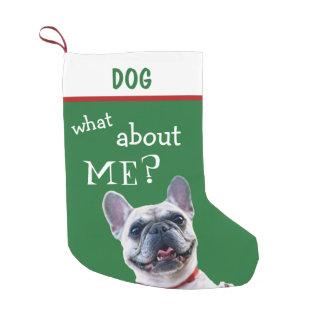 Calcetín Navideño Pequeño Verde de encargo divertido del perro de
