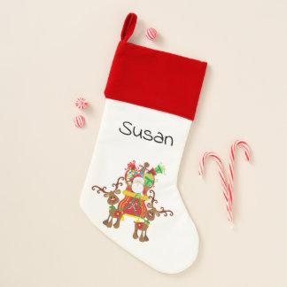 Calcetín Navideño Santa está viniendo a la media alineada terciopelo