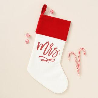 Calcetín Navideño Señora indicada con letras Christmas Stocking de