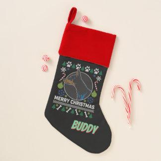 Calcetín Navideño Suéter feo del navidad del Pinscher personal del