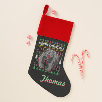 Calcetín Navideño Suéter feo personalizado del navidad del oso