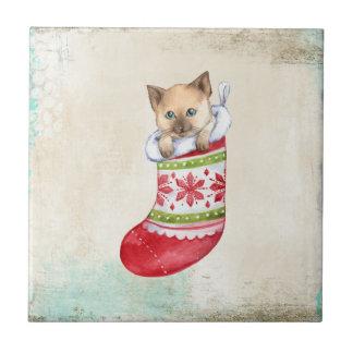 Calcetín rojo y blanco del día de fiesta del azulejo cuadrado pequeño