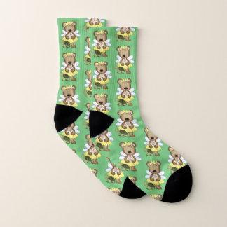 Calcetines Amarillo en princesa verde de la hada del oso de