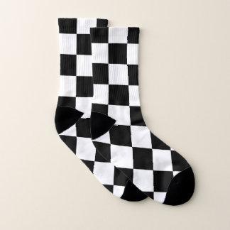 Calcetines Blanco a cuadros clásico del negro del control del