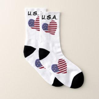 Calcetines Corazón de la bandera americana, los E.E.U.U.