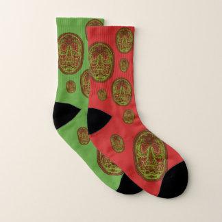 Calcetines CRÁNEOS - verde/rojo del navidad