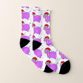 Calcetines del hipopótamo de Navidad