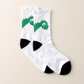 Calcetines Dragón verde lindo del dibujo animado
