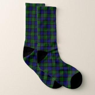 Calcetines escoceses del tartán del reloj negro