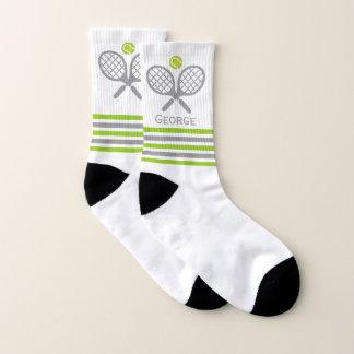 Calcetines Estafas de tenis y rayas verdes y grises de la