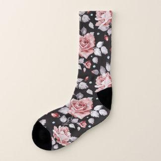 Calcetines Estampado de flores rosado del vintage todo encima