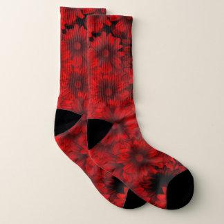 Calcetines floral rojo y negro