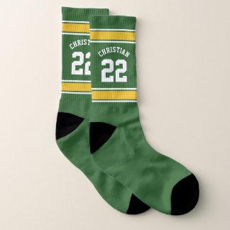 Calcetines Fútbol personalizado amarillo verde del jersey