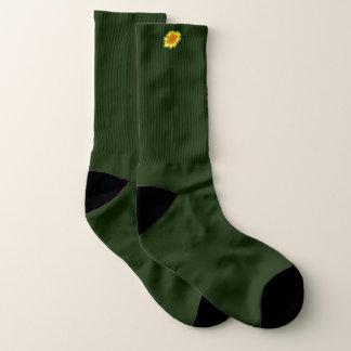 Calcetines Girasol amarillo en el exterior del verde caqui