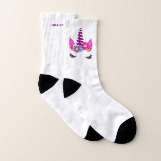 Calcetines Gráfico femenino lindo del unicornio personalizado