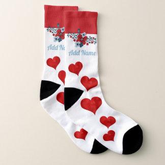 Calcetines La amapola y los corazones rojos personalizaron el