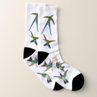 Calcetines La fauna de los pájaros del colibrí florece