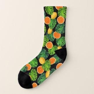 Calcetines Limones de los naranjas y hoja de Monstera