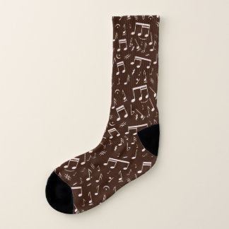 Calcetines Modelo asperjado de la nota musical en Brown