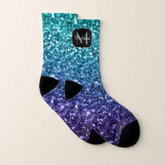 Calcetines Monograma azul de las chispas del purpurina de