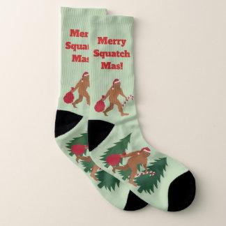 Calcetines Navidad feo de Bigfoot LRG del día de fiesta de