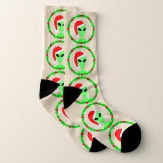Calcetines Navidad feo de Santa del acebo de la diversión
