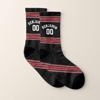 Calcetines Negro y rojo se divierte número conocido de