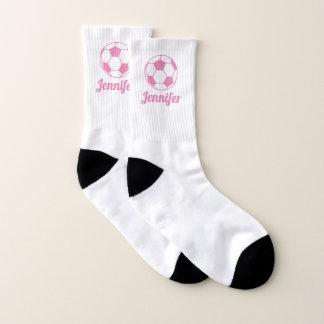 Calcetines Nombre rosado del balón de fútbol su color de