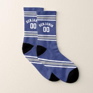 Calcetines Número conocido de encargo del jersey azul y de