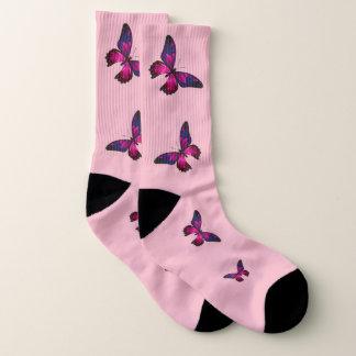 Calcetines Calcetines rosados de la mariposa, (mujeres 10-14