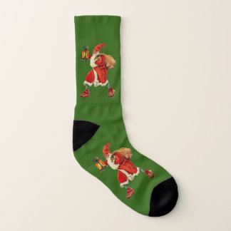 Calcetines Verde de la linterna de Papá Noel del vintage que